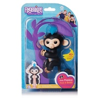 WowWee Fingerlings. Finn. Black with Blue Hair Baby Monkey. Genuine.