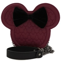 Loungefly Disney Minnie Mouse Maroon Quilted Silhouette Head Crossbody Bag