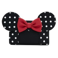 Loungefly Disney Minnie Mouse Black/White Polka Dot Flap Wallet