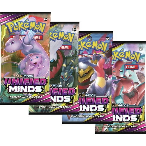 Pokemon TCG Sun and Moon Unified Minds. 4 Booster Packs!